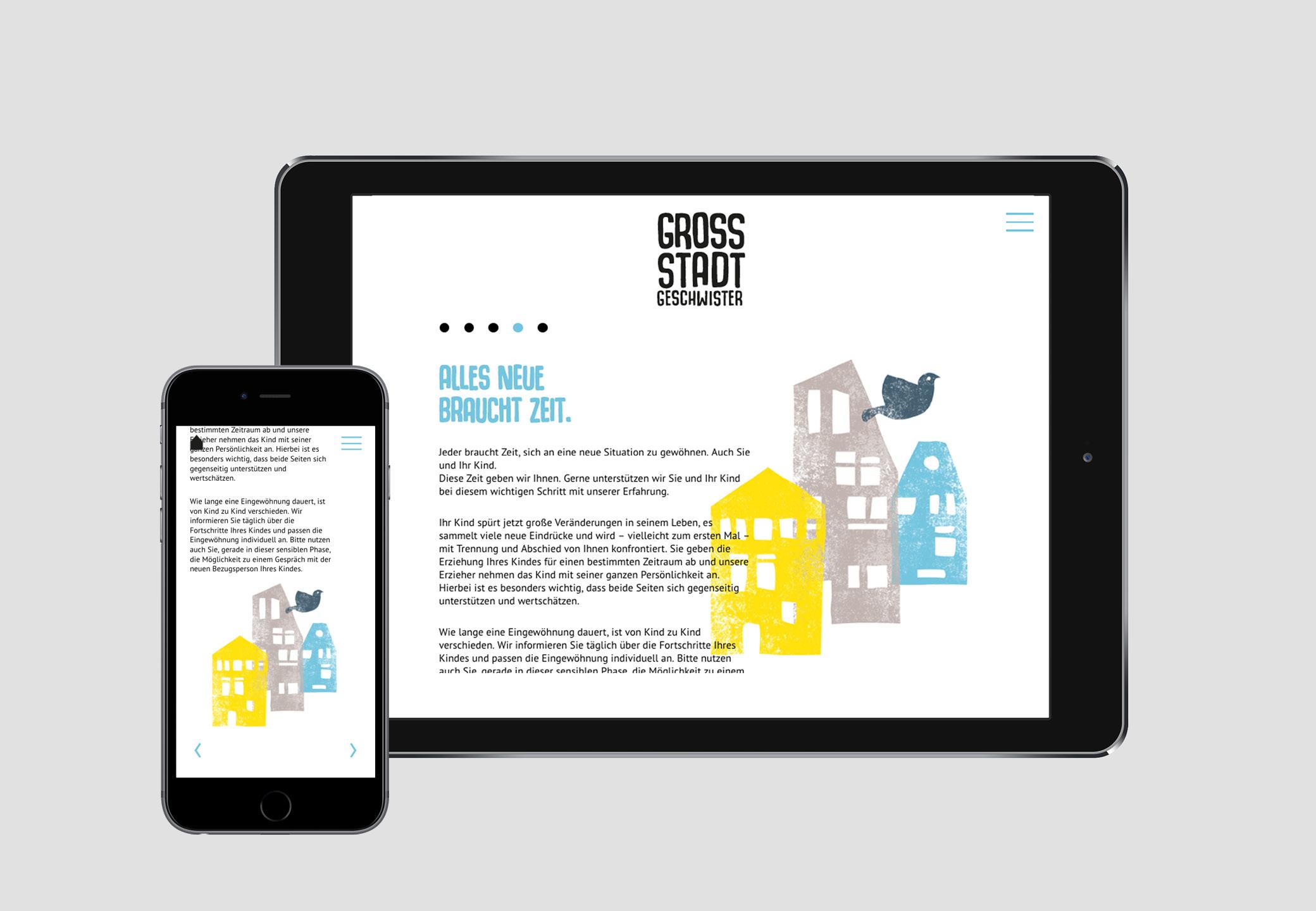 Webseite Grossstadtgeschwister Ipad mobil