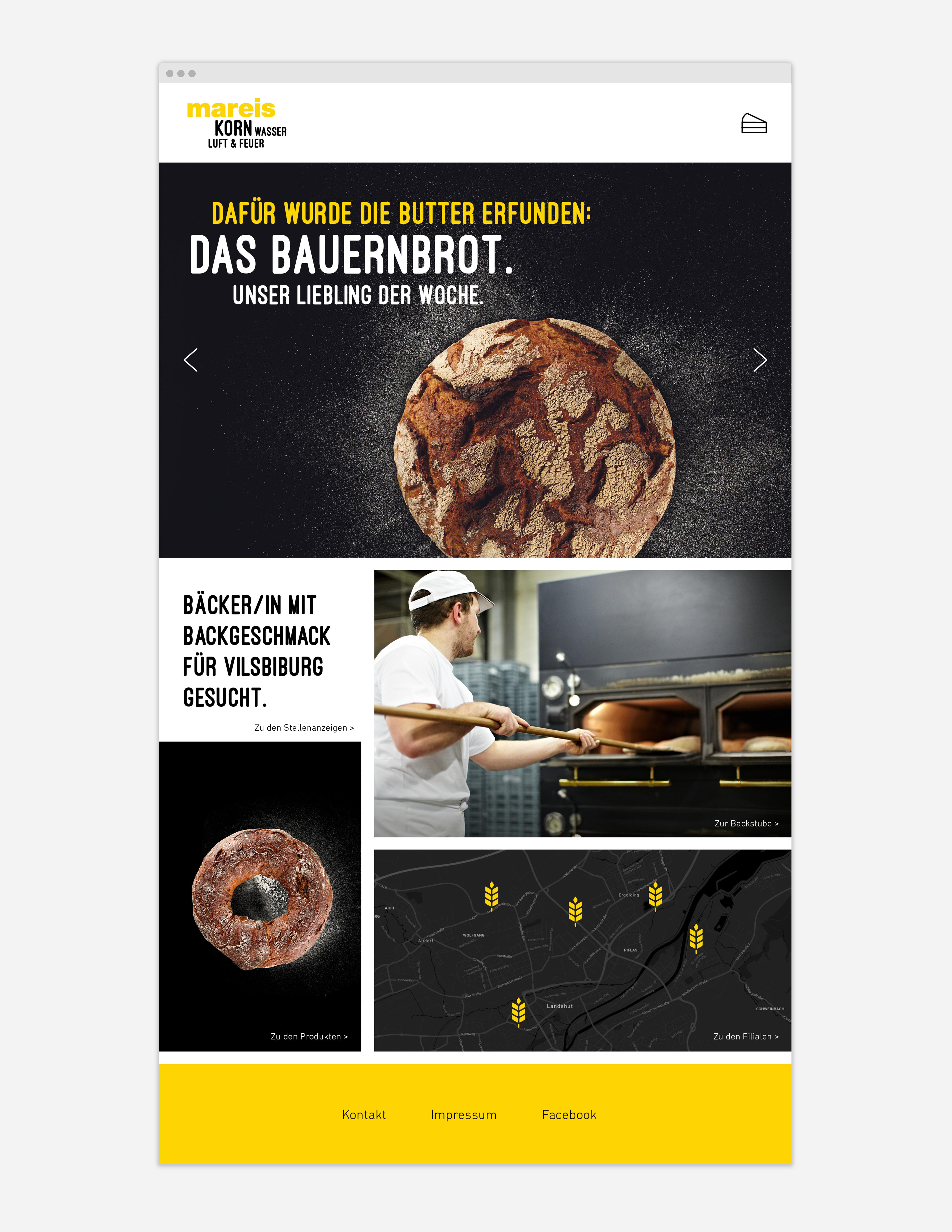 Webseite Bäckerei Mareis Startseite