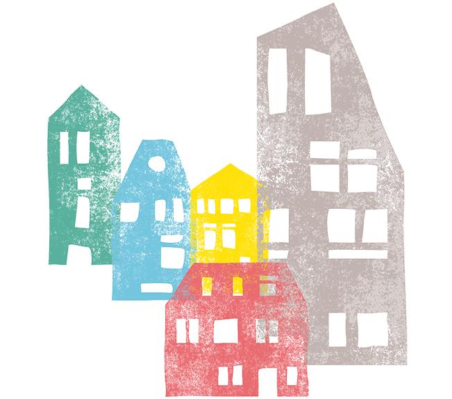 Illustration Häuser Grossstadtgeschwister